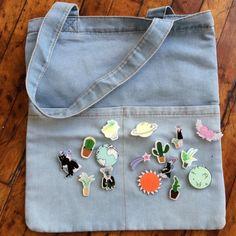 Valentine's Day SALE-DENIM TOTE BAG + FREE PINS