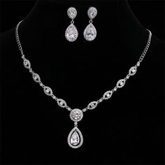 "Teardrop Wedding Jewelry Sets for the Bride - ""Annabel"" - Bridal Jewelry Set . - Teardrop Wedding Jewelry Sets for the Bride – ""Annabel"" – Bridal Jewelry Sets – - Wedding Jewelry And Accessories, Wedding Jewelry Sets, Jewelry Shop, Jewelry Stores, Fine Jewelry, Fashion Jewelry, Bridal Jewellery, Wedding Necklaces, Jewellery Box"