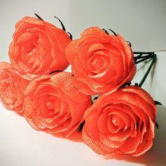 Krepp-Papier Blumen 5 Orange Krepp Papier von BudsandBloomsStore