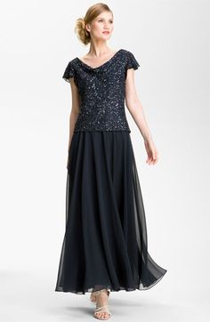 "J Kara Sequin Flutter Sleeve Chiffon Gown available at #Nordstrom    Husband will say this is ""an older person"" dress not for me"