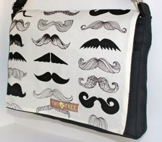 Black and White MUSTACHE Party Messenger ipad, laptop, or diaper bag.