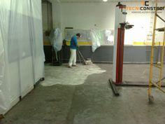 Projecto 162 - Pintura epoxy de pavimento de Oficina | Preparação de Pavimento - Foi aplicada uma argamassa de nivelamento no pavimento, e nesta fase encontramo-nos a despolir, ficando o mesmo preparado para a pintura.