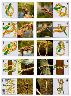 We've picked out 10 of the most versatile knots which will help you handle just about any situation that requires you to fasten two objects together, secure one line to another, or tie a rope to a solid object.data-pin-do=