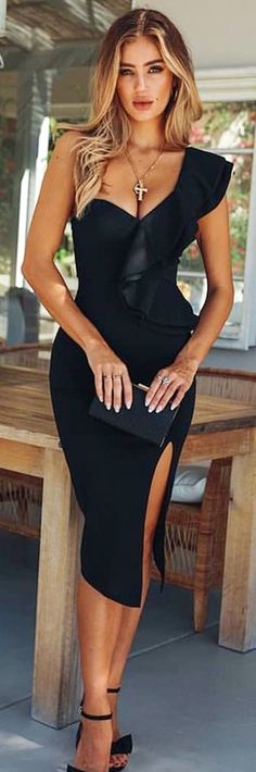One shoulder black midi dress with slit and ruffle for Valentine's Day or date night Pretty Dresses, Sexy Dresses, Dresses For Teens, Beautiful Dresses, Dress Outfits, Evening Dresses, Fashion Dresses, Casual Dresses, Kohls Dresses