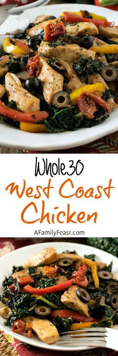 West Coast Chicken - A quick and easy, zesty one-skillet meal! You'll love this recipe even if you aren't on the West Coast Chicken - A quick and easy, zesty one-skillet meal! You'll love this recipe even if you aren't on the program. Whole 30 Diet, Paleo Whole 30, Whole 30 Recipes, Paleo Recipes, Real Food Recipes, Chicken Recipes, Cooking Recipes, Chicken Meals, Paleo Food