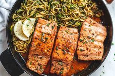 Lemon Garlic Butter Salmon with Zucchini Noodles – Light, low carb and ready in 15 minutes. Salmon fillets are pan-seared to flaky perfection and tossed in a delicious lemon garlic … Lemon Recipes, Fish Recipes, Seafood Recipes, Dinner Recipes, Cooking Recipes, Healthy Recipes, Salad Recipes, Seafood Dishes, Grilling Recipes