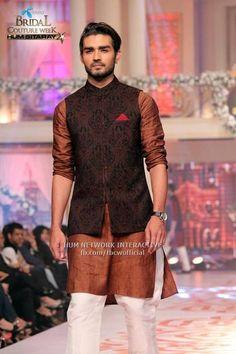Mehndi Kurta Designs 2017 For Men In Brown Color