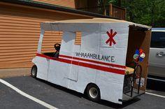 Ambulance themed golf car decorations at Lake Rudolph Campground & RV Resort.