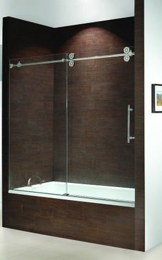 frameless bathtub doors | kinetik frameless sliding tub enclosure single door slider with fixed ...