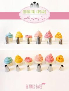 Great tutorial on using different tips to pipe frosting on cupcakes (Niner Bakers).