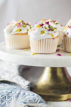 Rose Pistachio Angel Food Cupcakes