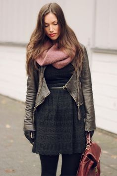 blk dress + leather jacket + pink scarf                          From mikeysfashionblog.tumblr.com
