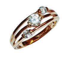 Stamped 925 Sterling Silver, GOLD PLATED & Gem Set Fancy 3 Stone Ring - UK N 1/2