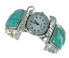 Sterling Silver Southwest Turquoise Inlay Cuff Watch