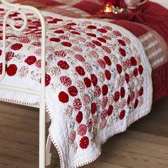 yo yo red and white quilt