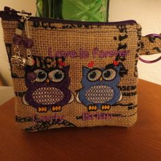 """Paris Owl Coin Purse, Custom Order, Personalized, Unique Gift Ideas, """"Love is Forever"""", Birthday Gift Idea, Embroidered Change Purse on Etsy, $9.96 AUD"""
