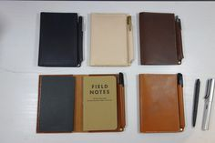 Leather Field notes cover that holds 1 or 2 notebooks.  Could be used for a notebook or passport.  Pen loop makes taking notes simple and easy.   Handmade  by StrideRidge.com