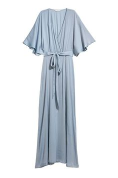 Long satin dress with a V-neck and wrapover front with concealed fastening. Short butterfly sleeves, tie belt at waist, and slits at sides of skirt. Grey Blue Dress, Light Blue Dresses, Trendy Dresses, Casual Dresses, Bild Outfits, Family Picture Outfits, Family Photos, Blue Bridesmaid Dresses, Spring Dresses