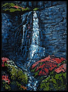 Bridal Veil Falls - Original block print by Manny Mellor from The Timpanogos Printshop