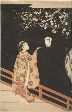 Title:夜の梅 Woman Admiring Plum Blossoms at Night Artist:鈴木春信 Suzuki Harunobu