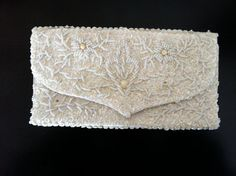 Vintage Beaded Clutch Purse Pearly Beads Satin by GrandmomsPennies TEAMPINTEREST