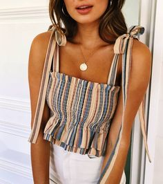 Women Striped Tank Top Fashion New Summer Cool Top Women Tube top . : Women Striped Tank Top Fashion New Summer Cool Top Women Tube top . Mode Outfits, Trendy Outfits, Fashion Outfits, Fashion Trends, Travel Outfits, School Outfits, Striped Outfits, Gray Outfits, 1940s Outfits