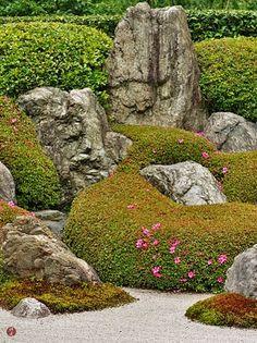 The stone garden of Meigetsu-in temple, Japan