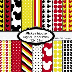 Mickey Mouse - Digital Paper Pack - 12x12 Inch Scrapbook Pages. $4.00, via Etsy.