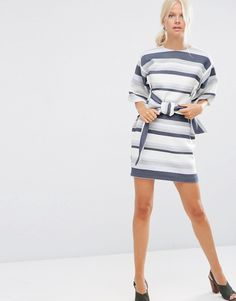 ASOS Tie Front Shift Dress in Natural Fibre Stripe