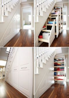 Hidden under the stairs shelving.  I love this idea for our basement, whenever we can remodel