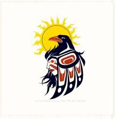 Haida raven and woman Native Symbols, Native American Symbols, Native Art, Arte Haida, Haida Art, Crow Art, Raven Art, Sketch Manga, Shetland