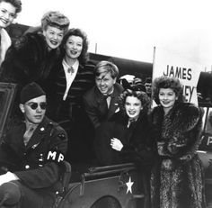 R-L - Lucille Ball, Judy Garland, Mickey Rooney, Greer Garson and Betty Hutton touring in an all star show during WWII