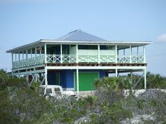 Cat Island House Rental: Private Beachhouse 'the Boathouse' On 3 Acres W/ Spectacular Beach Screened In Deck, Front Deck, Home Exchange, Tiki Hut, Spring Home, Beach Chairs, Ideal Home, Beach House, Boathouse