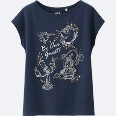 WOMEN Disney 'BEAUTY AND THE BEAST' SHORT SLEEVE GRAPHIC T-SHIRT, NAVY, large