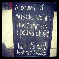 Yes! Ok, this isn't a grammar thing, but I'm sooo tired of hearing people say a pound of muscle weighs more than a pound of fat. NO, IT DOESN'T!!! ONE POUND = ONE POUND!! What people mean to say is that a pound of muscle takes up less space than a pound of fat.