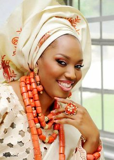 Gele and beads - stunning! Reminds me of my traditional wedding day!