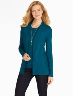 I ADORE this color and it always looks great on me. I like the outfit, too. :-)  Talbots - No-Close Sweater Jacket | Cardigans and Jackets |