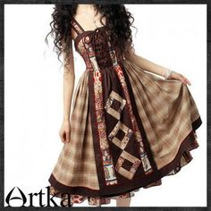 Nordic style pastoral style pure cotton Patchwork Tank Dress -A09945 | ArtkaFashion - Clothing on ArtFire