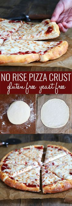 If you're looking for a way to get dinner on the table FAST, this gluten free pizza dough recipe without yeast is exactly what you need! http://glutenfreeonashoestring.com/yeast-free-gluten-free-pizza-two-ways/