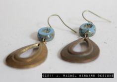 Vintage Brass and Czech Glass Earrings by JRachelBesnard on Etsy, $15.99
