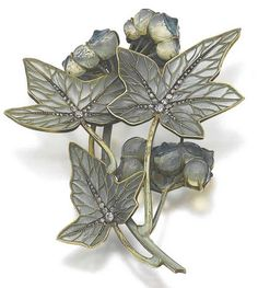 "Rene Lalique  ""White Bryony""; Plique-a-jour, glass, and diamonds leaf and berry motif, pendant with a later brooch pin, ca 1895"