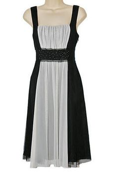 Teatro design. Fully lined dress, size 10UK, midi, black & white with beads £17.50 FREE shipping UK (charges overseas)