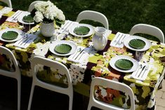 fun and colorful outdoor table