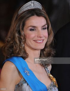 Princess Letizia of Spain attends a Gala Dinner honouring French President Nicolas Sarkozy, at The Royal Palace, on April 27, 2009 in Madrid, Spain.