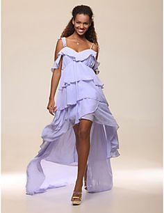 Cocktail Party Prom Dress - High Low Celebrity Style A-line Off-the- 52a9152382