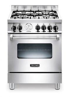 Fogão TX6 TUGA4 / 14 em inox escovado, com 4 queimadores forno a gás de 6 funções TURBO com churrasqueira, 60 x 60cm (LxP). #TECNO #FOGAO