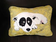 """Dexter"" pillow: hand embroidered, applique"