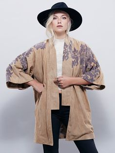 New Romantics Kyoto Floral Kimono | Suede kimono-style jacket featuring subtle floral print, underarm cutouts and silky lining. Hip pockets and back vent.