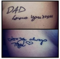 This is such a beautiful idea... a tattoo of a signature from an old card in honour of a loved one who has passed away