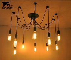 DIY Pendant lights Modern Nordic Retro Hanging Lamps Edison Bulb Fixtures Spider Ceiling Lamp Fixture Light for Living Room